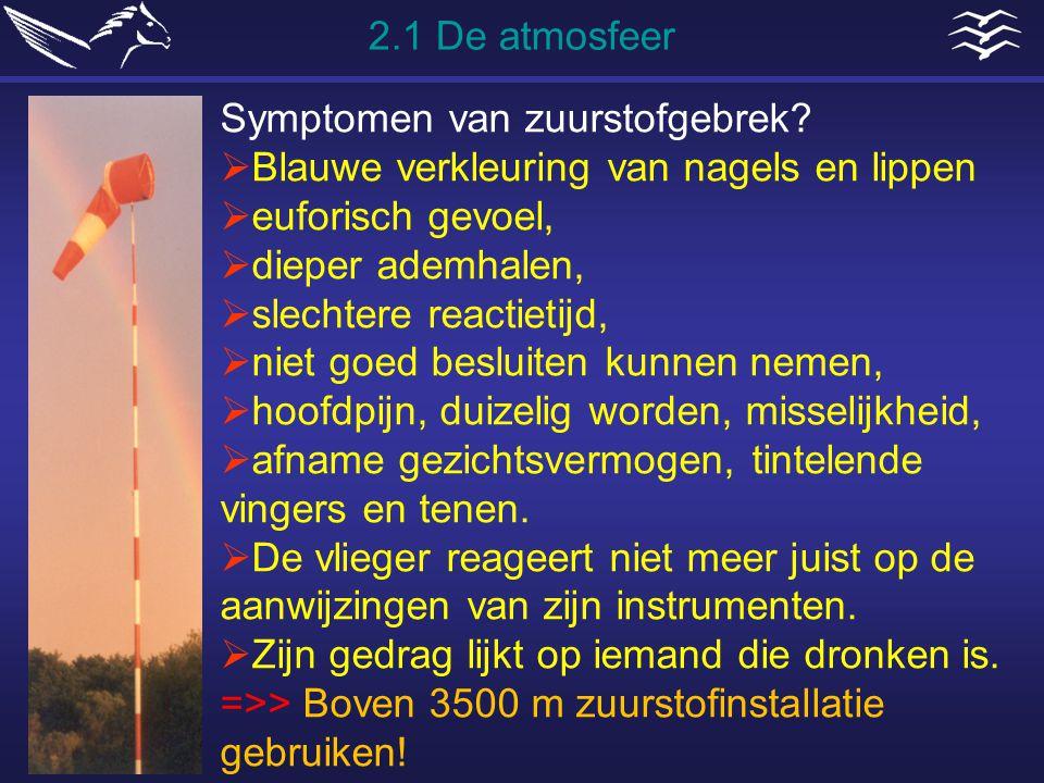 Symptomen van zuurstofgebrek?  Blauwe verkleuring van nagels en lippen  euforisch gevoel,  dieper ademhalen,  slechtere reactietijd,  niet goed b