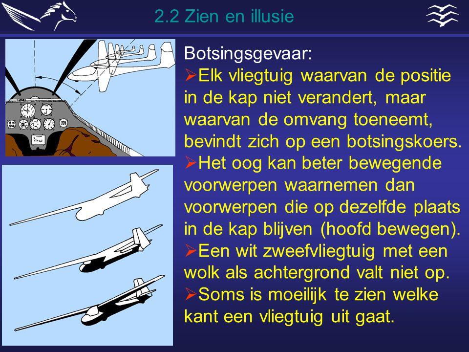 Botsingsgevaar:  Elk vliegtuig waarvan de positie in de kap niet verandert, maar waarvan de omvang toeneemt, bevindt zich op een botsingskoers.  Het