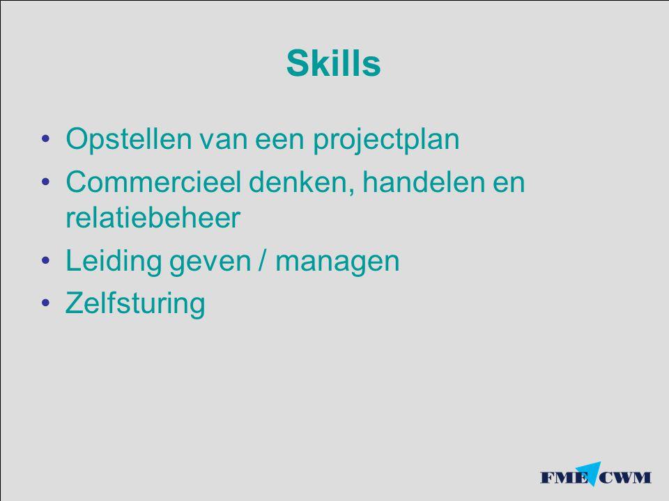 Skills Opstellen van een projectplan Commercieel denken, handelen en relatiebeheer Leiding geven / managen Zelfsturing
