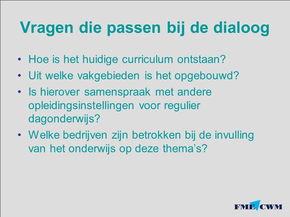 Vragen die passen bij de dialoog Hoe is het huidige curriculum ontstaan.