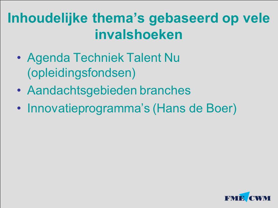 Inhoudelijke thema's gebaseerd op vele invalshoeken Agenda Techniek Talent Nu (opleidingsfondsen) Aandachtsgebieden branches Innovatieprogramma's (Hans de Boer)