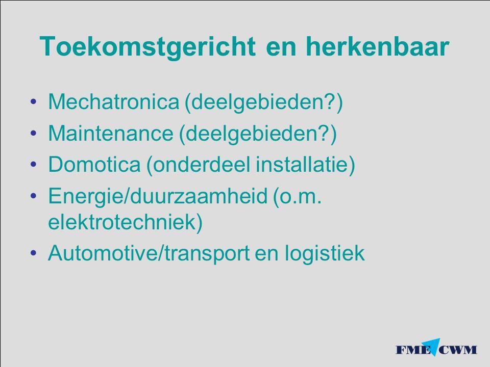 Toekomstgericht en herkenbaar Mechatronica (deelgebieden ) Maintenance (deelgebieden ) Domotica (onderdeel installatie) Energie/duurzaamheid (o.m.