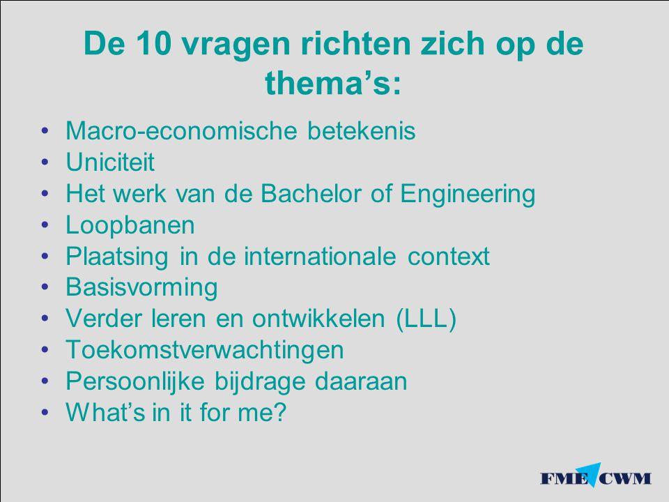 De 10 vragen richten zich op de thema's: Macro-economische betekenis Uniciteit Het werk van de Bachelor of Engineering Loopbanen Plaatsing in de internationale context Basisvorming Verder leren en ontwikkelen (LLL) Toekomstverwachtingen Persoonlijke bijdrage daaraan What's in it for me