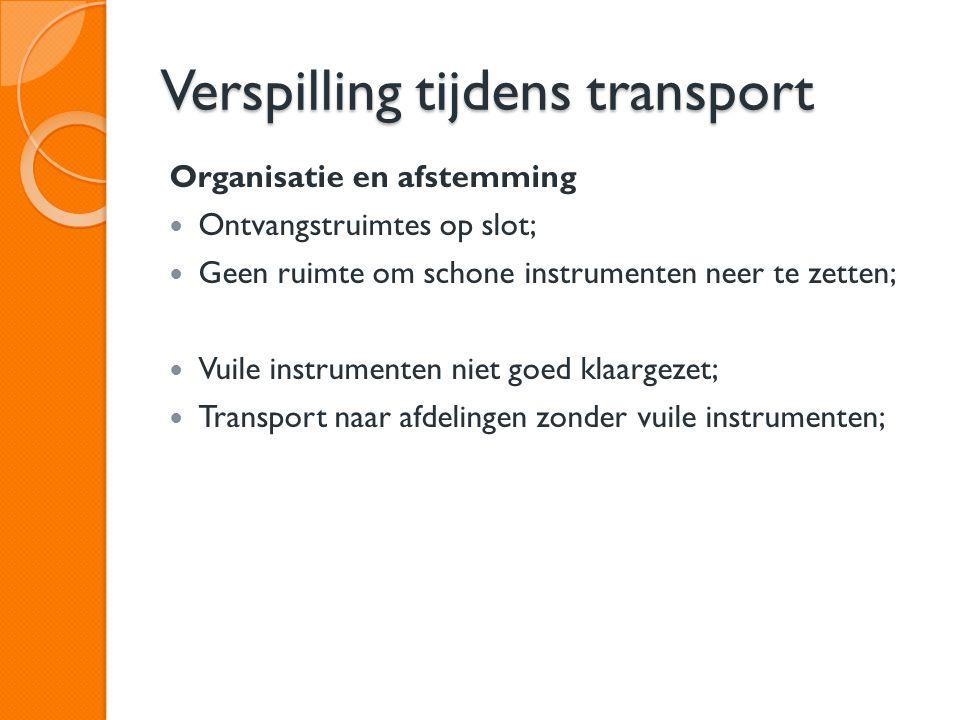 Verspilling tijdens transport Organisatie en afstemming Ontvangstruimtes op slot; Geen ruimte om schone instrumenten neer te zetten; Vuile instrumente