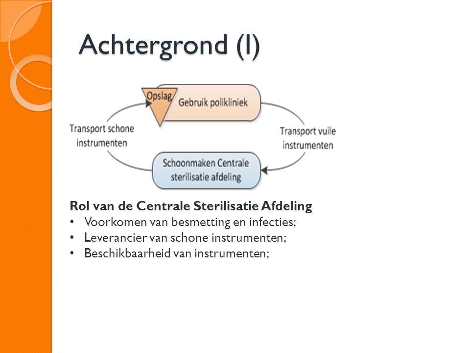 Achtergrond (I) Rol van de Centrale Sterilisatie Afdeling Voorkomen van besmetting en infecties; Leverancier van schone instrumenten; Beschikbaarheid