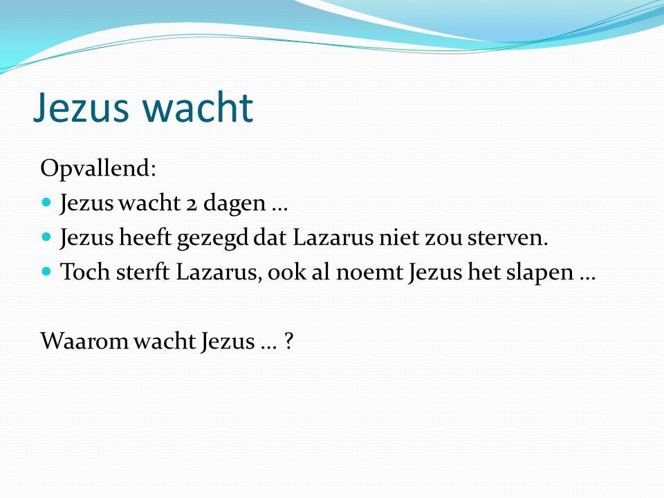 Jezus wacht Opvallend: Jezus wacht 2 dagen … Jezus heeft gezegd dat Lazarus niet zou sterven.