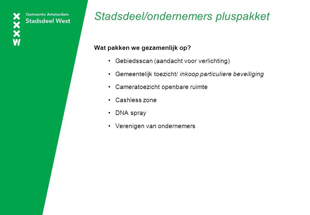 Stadsdeel/ondernemers pluspakket Wat pakken we gezamenlijk op? Gebiedsscan (aandacht voor verlichting) Gemeentelijk toezicht/ inkoop particuliere beve