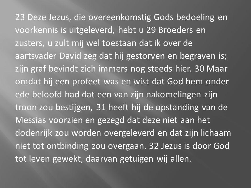 23 Deze Jezus, die overeenkomstig Gods bedoeling en voorkennis is uitgeleverd, hebt u 29 Broeders en zusters, u zult mij wel toestaan dat ik over de a