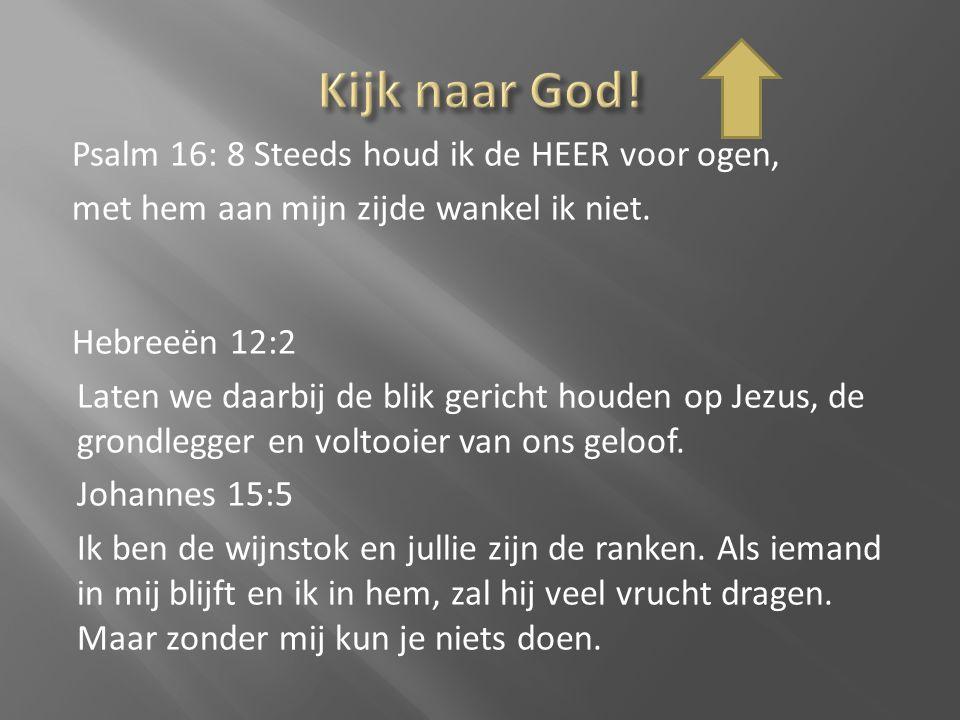 Psalm 16: 8 Steeds houd ik de HEER voor ogen, met hem aan mijn zijde wankel ik niet. Hebreeën 12:2 Laten we daarbij de blik gericht houden op Jezus, d