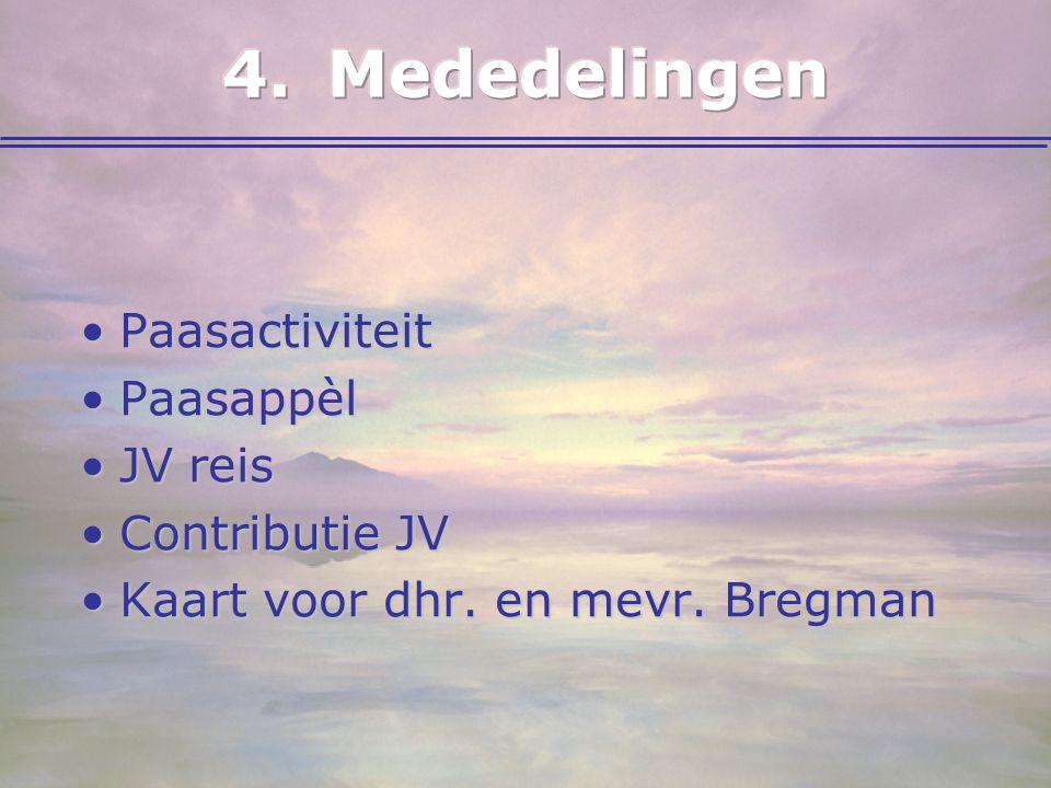 PaasactiviteitPaasactiviteit PaasappèlPaasappèl JV reisJV reis Contributie JVContributie JV Kaart voor dhr. en mevr. BregmanKaart voor dhr. en mevr. B