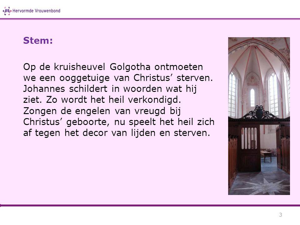 Stem: Op de kruisheuvel Golgotha ontmoeten we een ooggetuige van Christus' sterven. Johannes schildert in woorden wat hij ziet. Zo wordt het heil verk