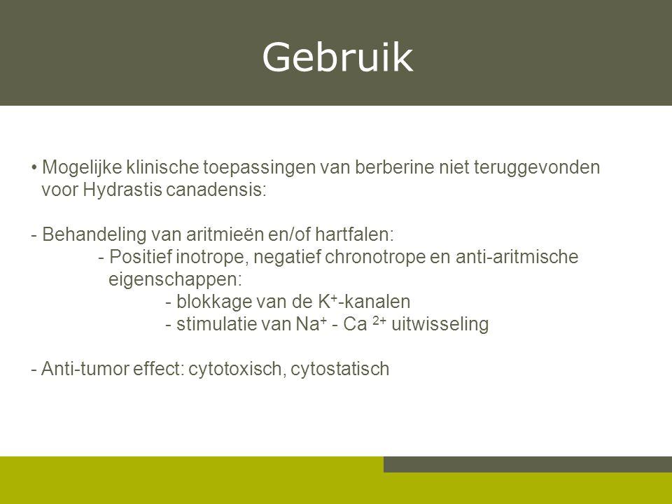 Gebruik Mogelijke klinische toepassingen van berberine niet teruggevonden voor Hydrastis canadensis: - Behandeling van aritmieën en/of hartfalen: - Po