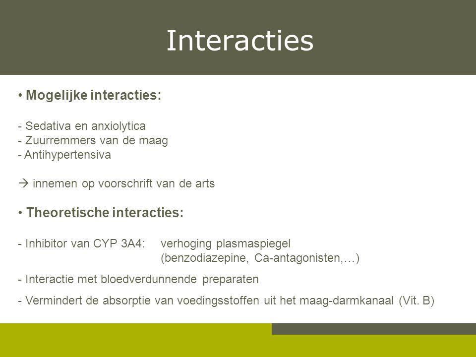 Interacties Mogelijke interacties: - Sedativa en anxiolytica - Zuurremmers van de maag - Antihypertensiva  innemen op voorschrift van de arts Theoret