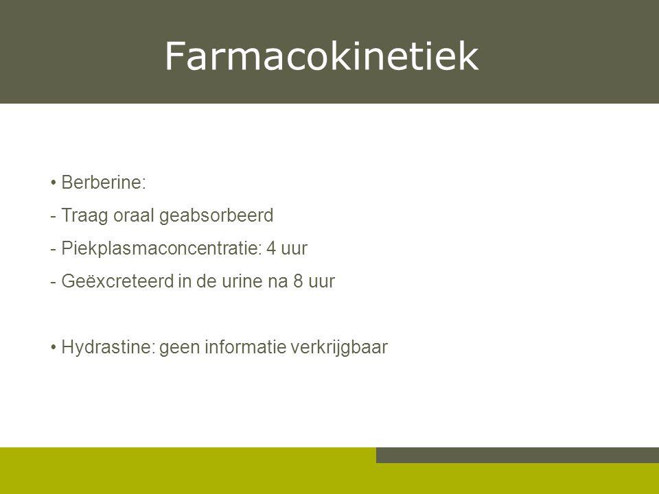 Farmacokinetiek Berberine: - Traag oraal geabsorbeerd - Piekplasmaconcentratie: 4 uur - Geëxcreteerd in de urine na 8 uur Hydrastine: geen informatie