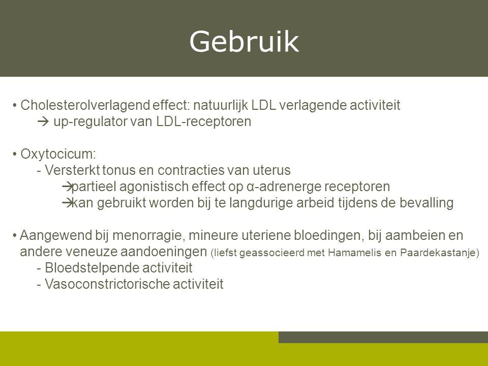 Gebruik Cholesterolverlagend effect: natuurlijk LDL verlagende activiteit  up-regulator van LDL-receptoren Oxytocicum: - Versterkt tonus en contracti