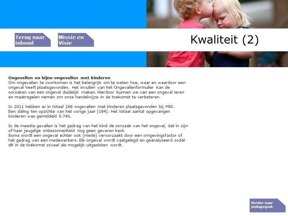 Bedrijfs resultaat Kwaliteit (2) Ongevallen en bijna-ongevallen met kinderen Om ongevallen te voorkomen is het belangrijk om te weten hoe, waar en waa