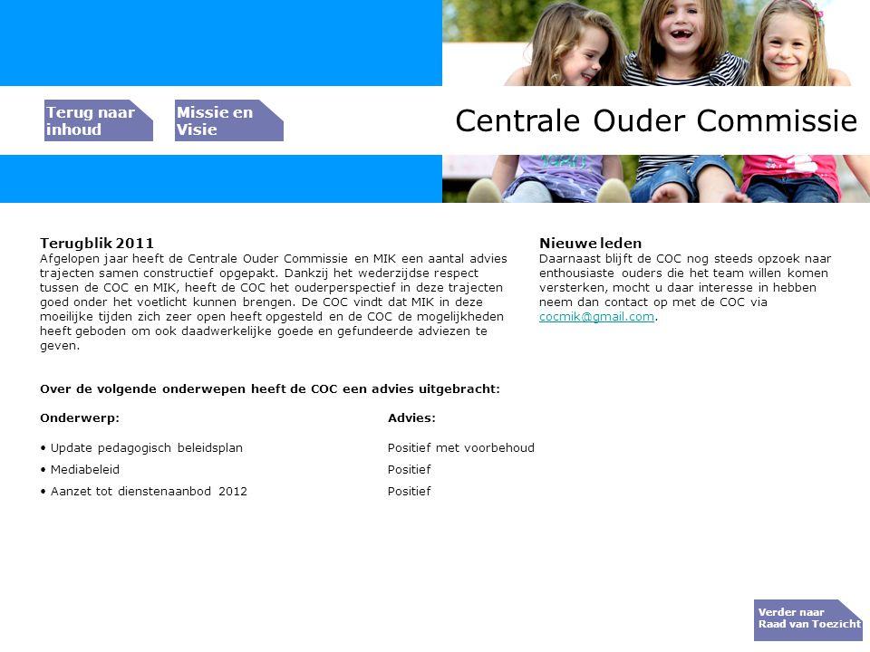 Bedrijfs resultaat Centrale Ouder Commissie Verder naar Raad van Toezicht Terugblik 2011 Afgelopen jaar heeft de Centrale Ouder Commissie en MIK een a