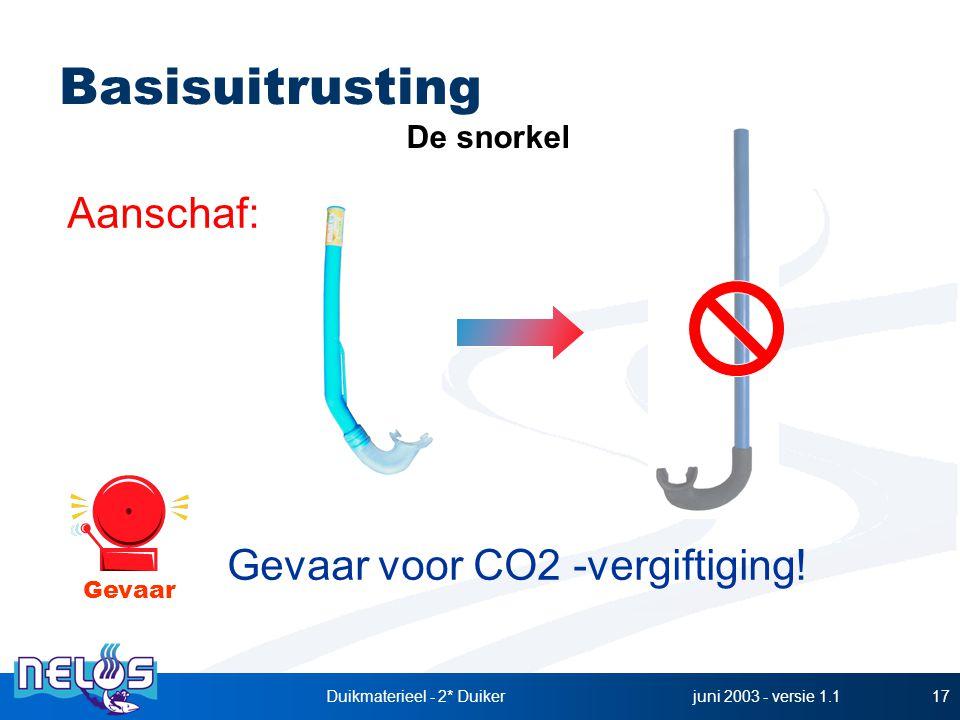 juni 2003 - versie 1.1Duikmaterieel - 2* Duiker17 Aanschaf: Gevaar voor CO2 -vergiftiging! De snorkel Basisuitrusting Gevaar
