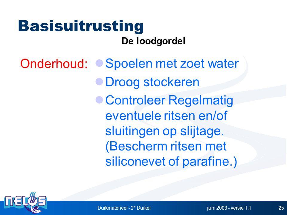 juni 2003 - versie 1.1Duikmaterieel - 2* Duiker25 Spoelen met zoet water Droog stockeren Controleer Regelmatig eventuele ritsen en/of sluitingen op sl