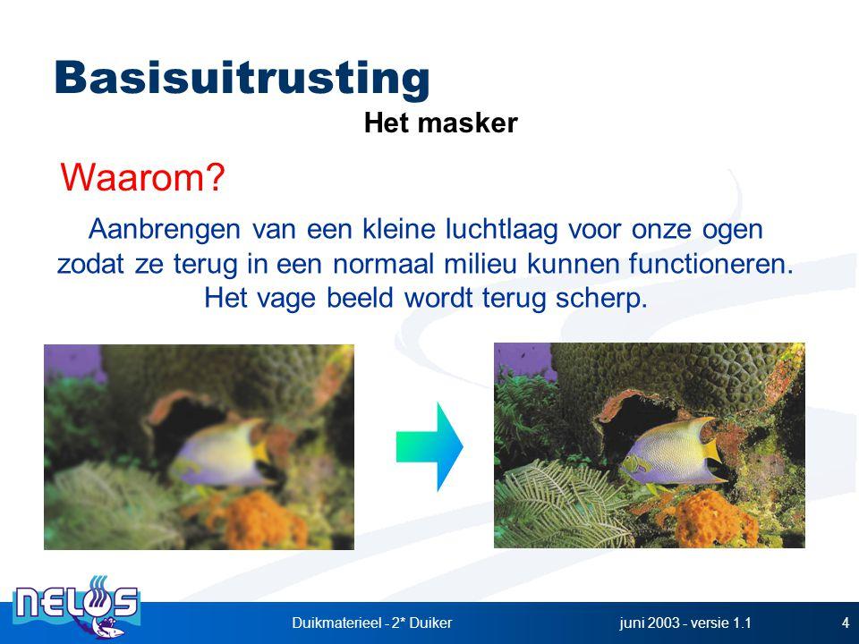 juni 2003 - versie 1.1Duikmaterieel - 2* Duiker4 Basisuitrusting Het masker Aanbrengen van een kleine luchtlaag voor onze ogen zodat ze terug in een normaal milieu kunnen functioneren.