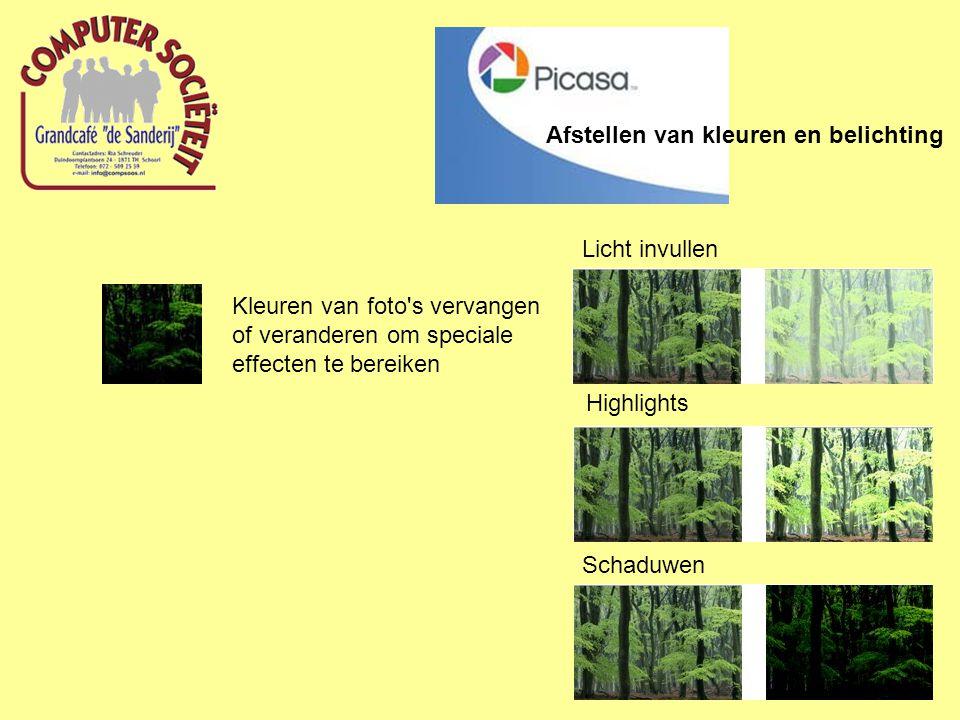 Afstellen van kleuren en belichting Kleuren van foto s vervangen of veranderen om speciale effecten te bereiken Licht invullen Highlights Schaduwen