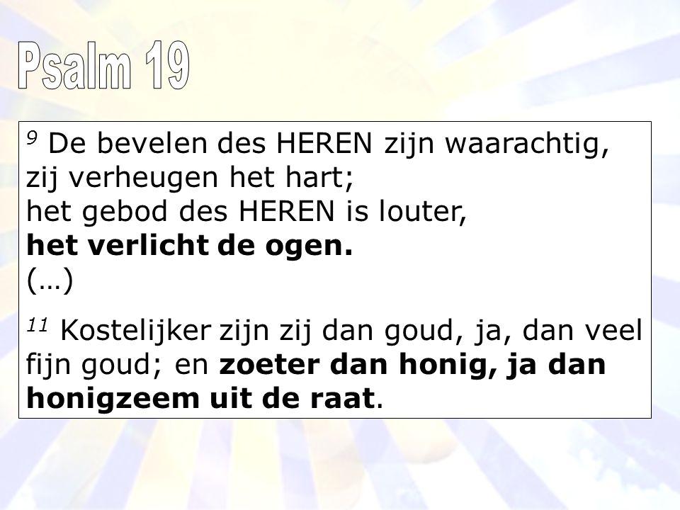 9 De bevelen des HEREN zijn waarachtig, zij verheugen het hart; het gebod des HEREN is louter, het verlicht de ogen.