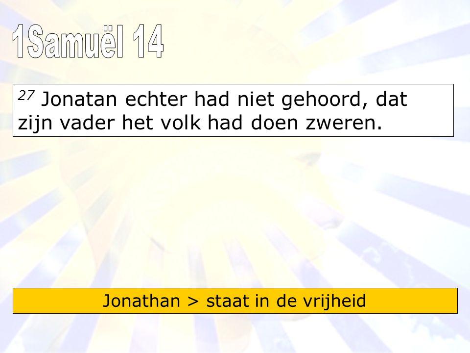 27 Jonatan echter had niet gehoord, dat zijn vader het volk had doen zweren.
