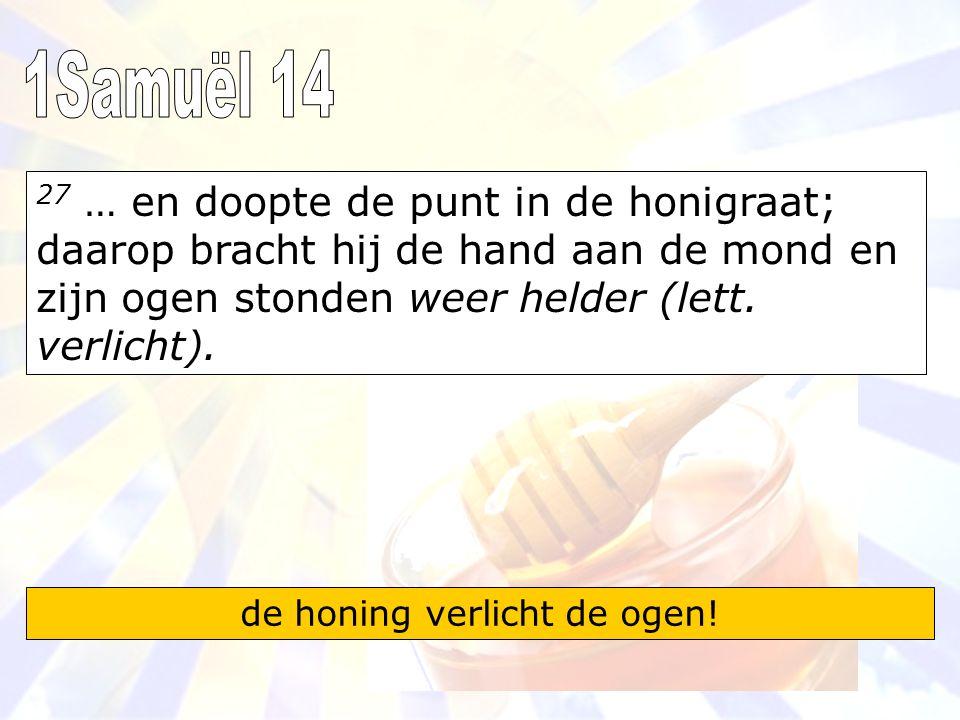 27 … en doopte de punt in de honigraat; daarop bracht hij de hand aan de mond en zijn ogen stonden weer helder (lett.