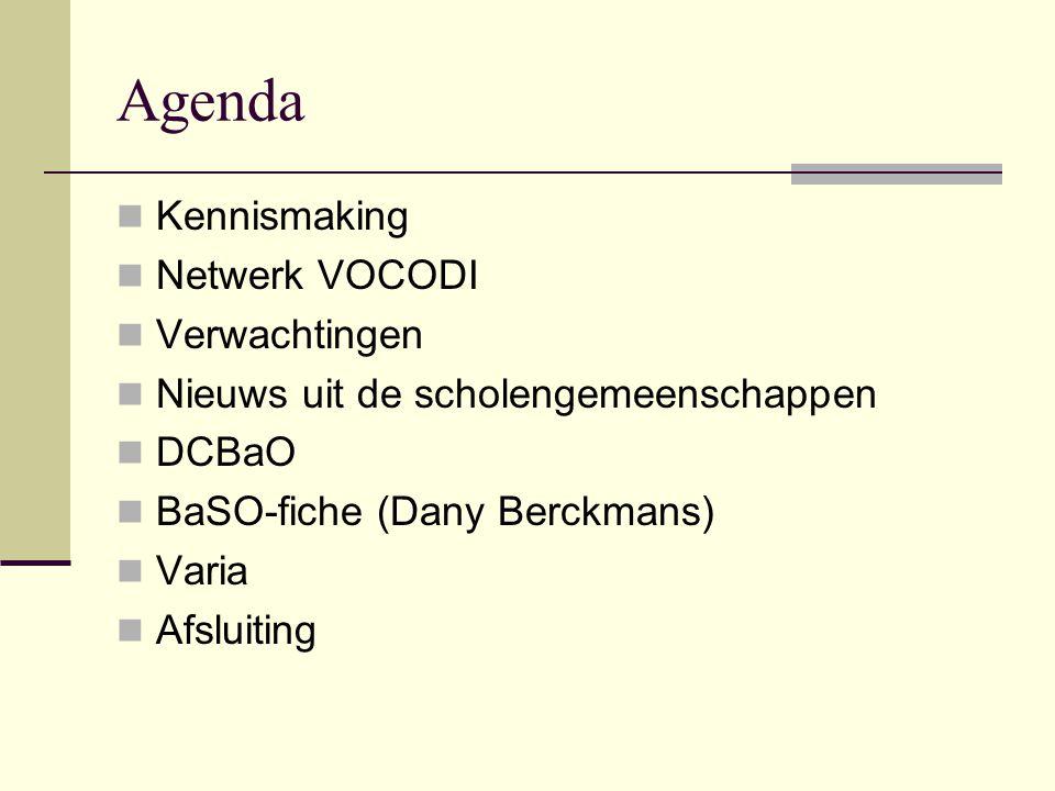 Agenda Kennismaking Netwerk VOCODI Verwachtingen Nieuws uit de scholengemeenschappen DCBaO BaSO-fiche (Dany Berckmans) Varia Afsluiting