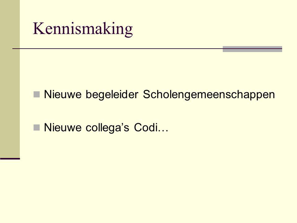 Kennismaking Nieuwe begeleider Scholengemeenschappen Nieuwe collega's Codi…