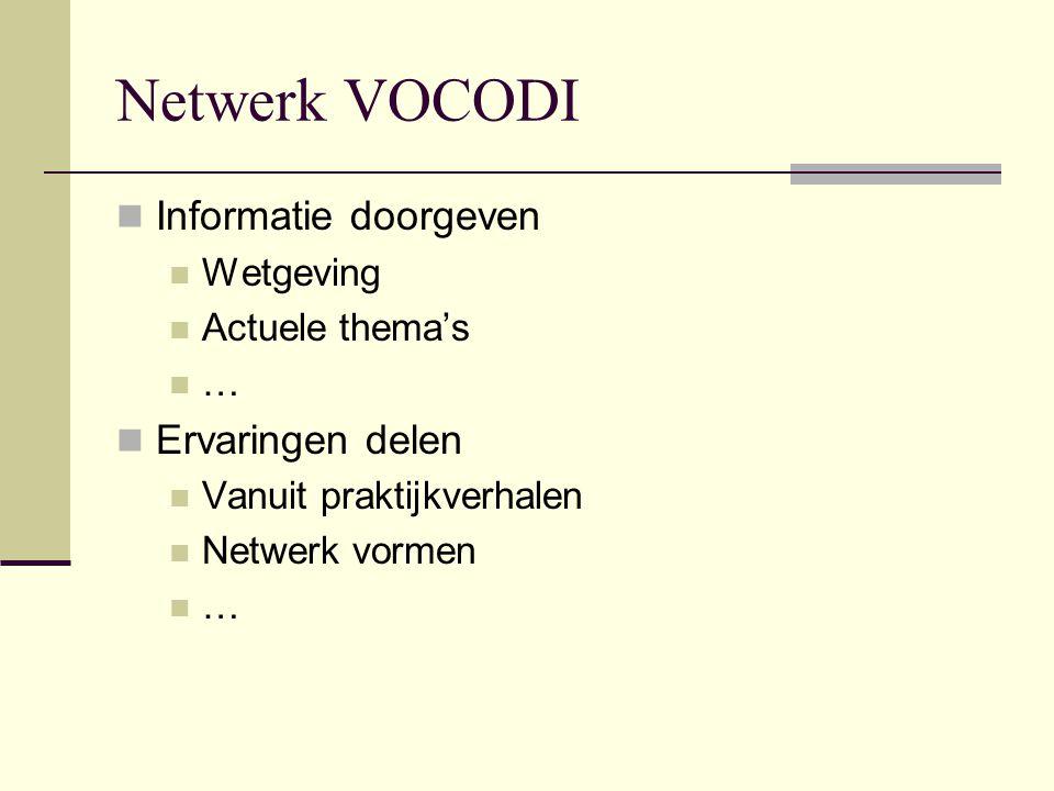 Netwerk VOCODI Informatie doorgeven Wetgeving Actuele thema's … Ervaringen delen Vanuit praktijkverhalen Netwerk vormen …