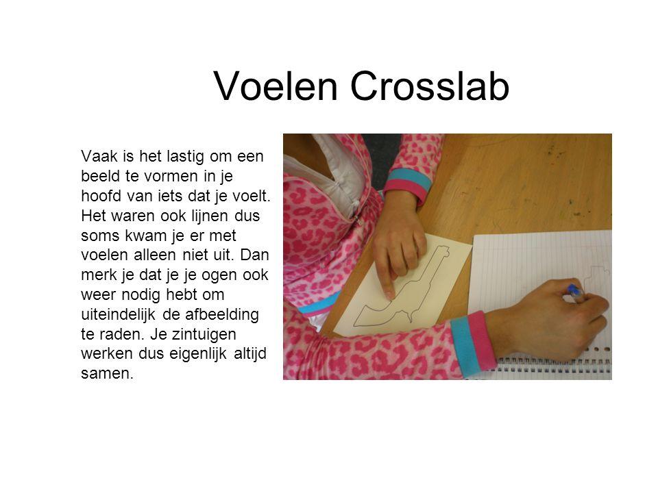 Voelen Crosslab Vaak is het lastig om een beeld te vormen in je hoofd van iets dat je voelt. Het waren ook lijnen dus soms kwam je er met voelen allee
