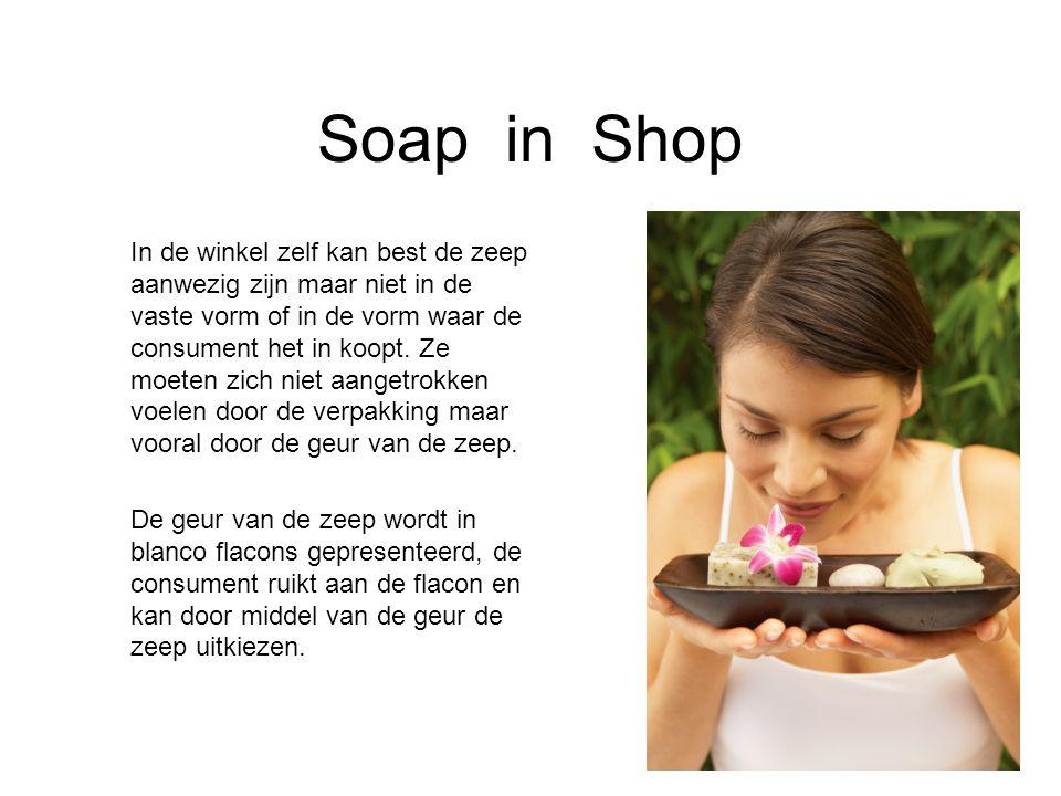 Soap in Shop In de winkel zelf kan best de zeep aanwezig zijn maar niet in de vaste vorm of in de vorm waar de consument het in koopt. Ze moeten zich