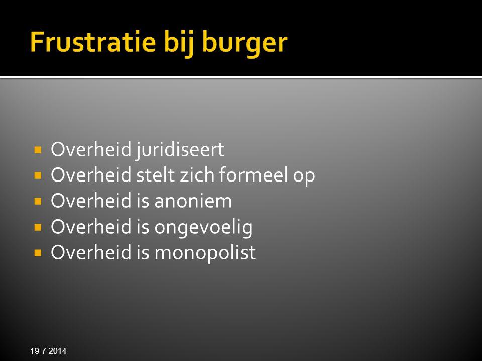  Overheid juridiseert  Overheid stelt zich formeel op  Overheid is anoniem  Overheid is ongevoelig  Overheid is monopolist 19-7-2014