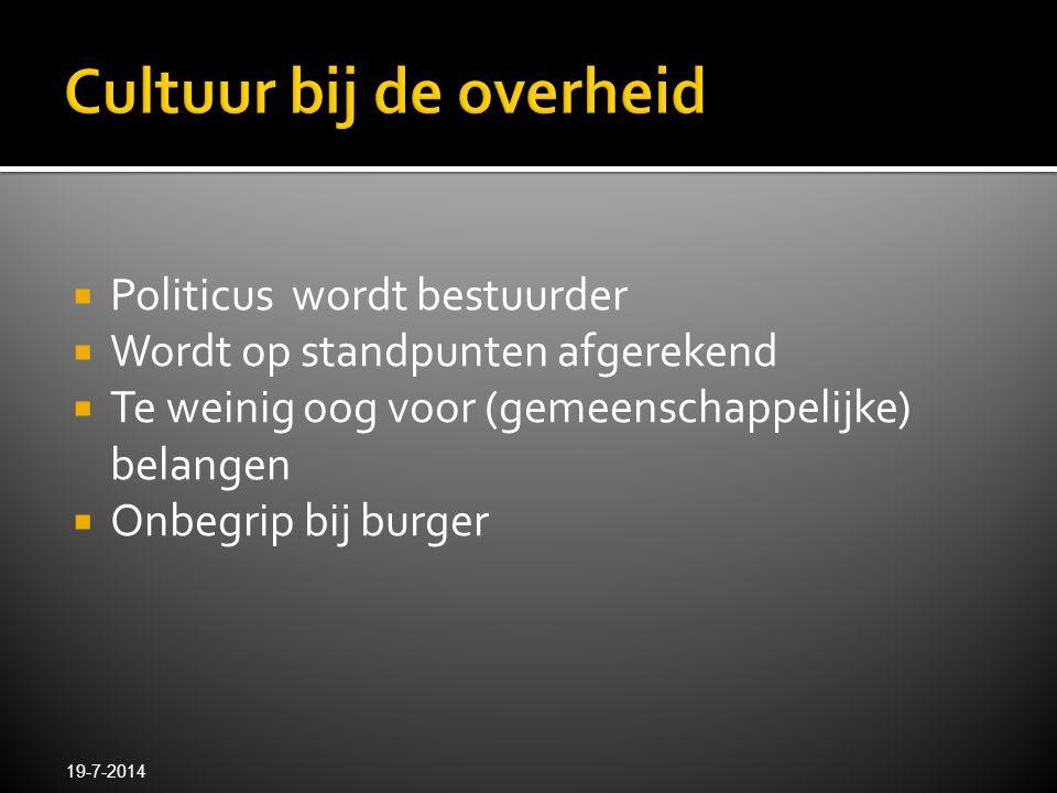  Politicus wordt bestuurder  Wordt op standpunten afgerekend  Te weinig oog voor (gemeenschappelijke) belangen  Onbegrip bij burger 19-7-2014