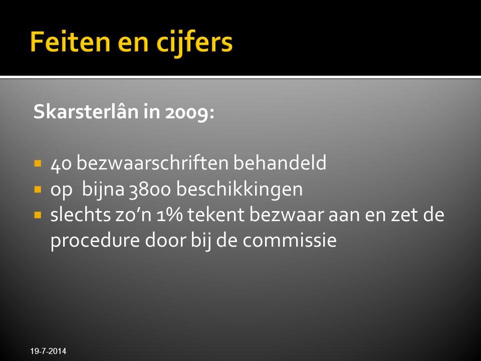 Skarsterlân in 2009:  40 bezwaarschriften behandeld  op bijna 3800 beschikkingen  slechts zo'n 1% tekent bezwaar aan en zet de procedure door bij d