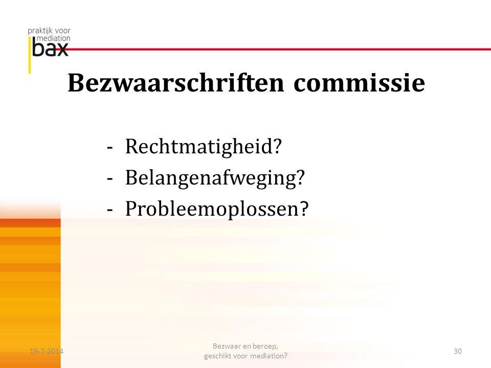 Bezwaarschriften commissie -Rechtmatigheid? -Belangenafweging? -Probleemoplossen ? 19-7-201430 Bezwaar en beroep, geschikt voor mediation?