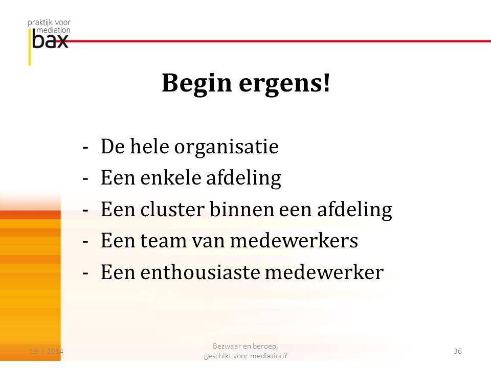 Begin ergens! -De hele organisatie -Een enkele afdeling -Een cluster binnen een afdeling -Een team van medewerkers -Een enthousiaste medewerker 19-7-2