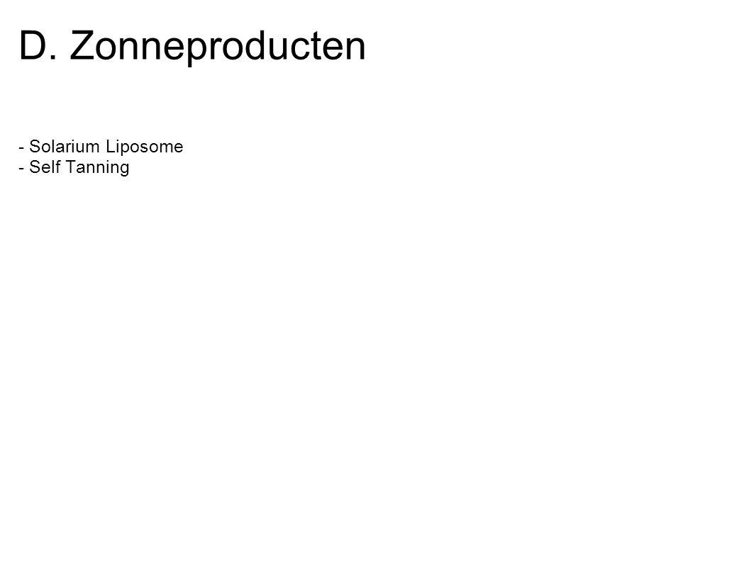 D. Zonneproducten - Solarium Liposome - Self Tanning