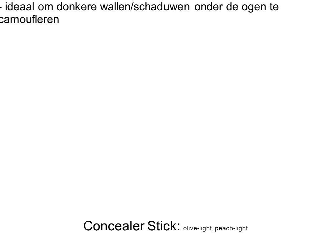 Concealer Stick: olive-light, peach-light - ideaal om donkere wallen/schaduwen onder de ogen te camoufleren
