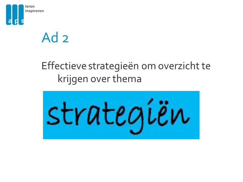 Ad 2 Effectieve strategieën om overzicht te krijgen over thema