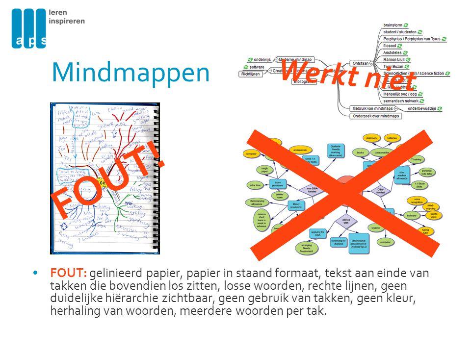 Mindmappen FOUT: gelinieerd papier, papier in staand formaat, tekst aan einde van takken die bovendien los zitten, losse woorden, rechte lijnen, geen