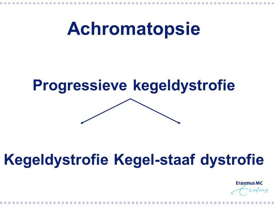  Macula  ERG: kegels > staven  Late symptomen: nachtblind, afname gezichtsveld  Netvlies buiten macula ook betrokken