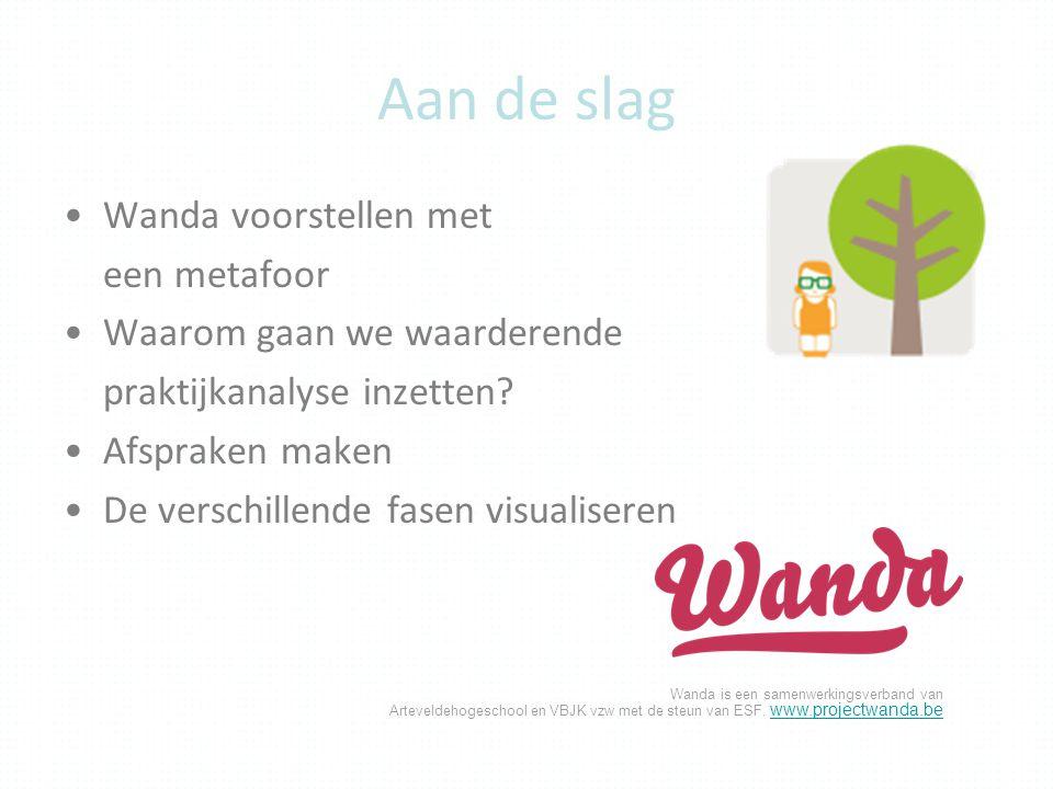 Wanda is een samenwerkingsverband van Arteveldehogeschool en VBJK vzw met de steun van ESF. www.projectwanda.be www.projectwanda.be Aan de slag Wanda