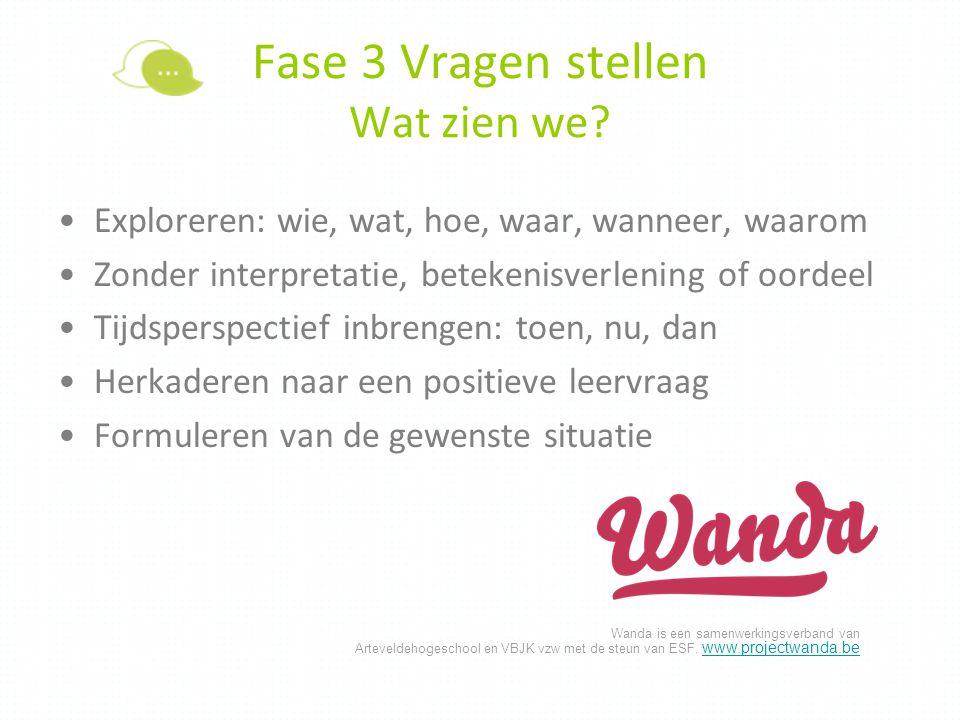 Wanda is een samenwerkingsverband van Arteveldehogeschool en VBJK vzw met de steun van ESF. www.projectwanda.be www.projectwanda.be Fase 3 Vragen stel