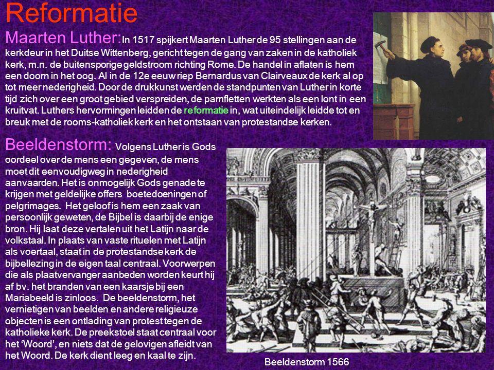 Reformatie Maarten Luther: In 1517 spijkert Maarten Luther de 95 stellingen aan de kerkdeur in het Duitse Wittenberg, gericht tegen de gang van zaken