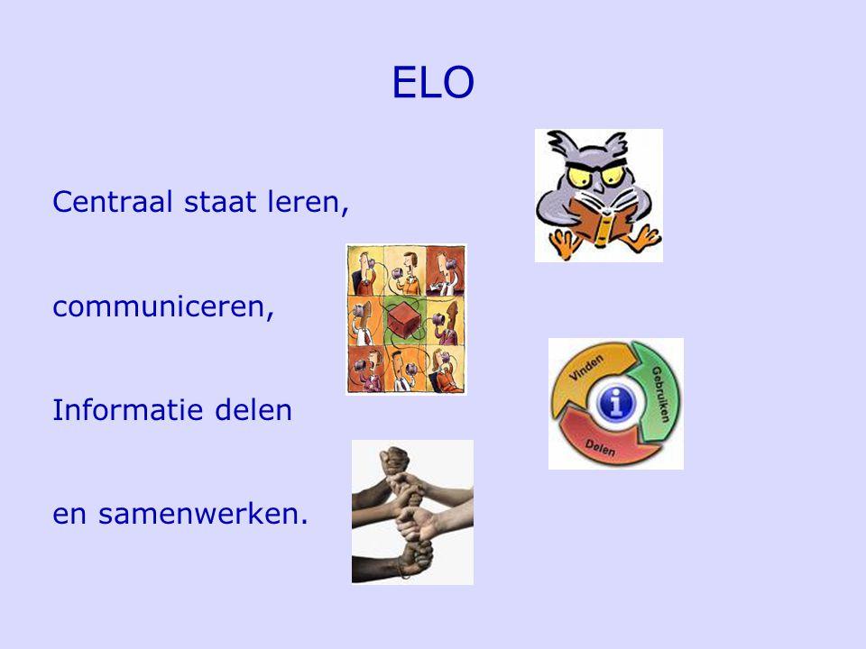 ELO Centraal staat leren, communiceren, Informatie delen en samenwerken.