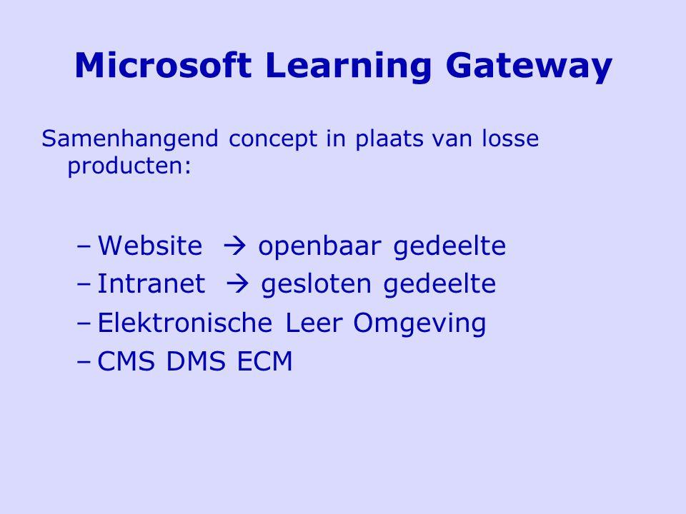 Microsoft Learning Gateway Samenhangend concept in plaats van losse producten: –Website  openbaar gedeelte –Intranet  gesloten gedeelte –Elektronische Leer Omgeving –CMS DMS ECM