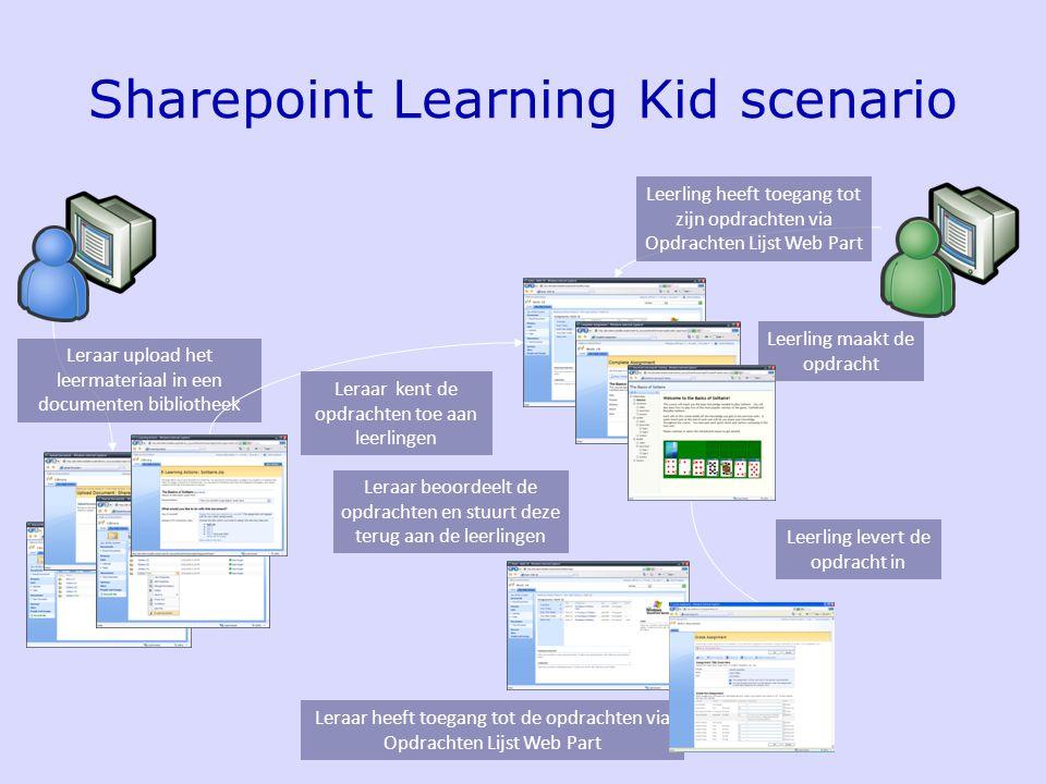 Sharepoint Learning Kid scenario Leerling heeft toegang tot zijn opdrachten via Opdrachten Lijst Web Part Leraar heeft toegang tot de opdrachten via Opdrachten Lijst Web Part Leraar beoordeelt de opdrachten en stuurt deze terug aan de leerlingen Leraar upload het leermateriaal in een documenten bibliotheek Leraar kent de opdrachten toe aan leerlingen Leerling levert de opdracht in Leerling maakt de opdracht
