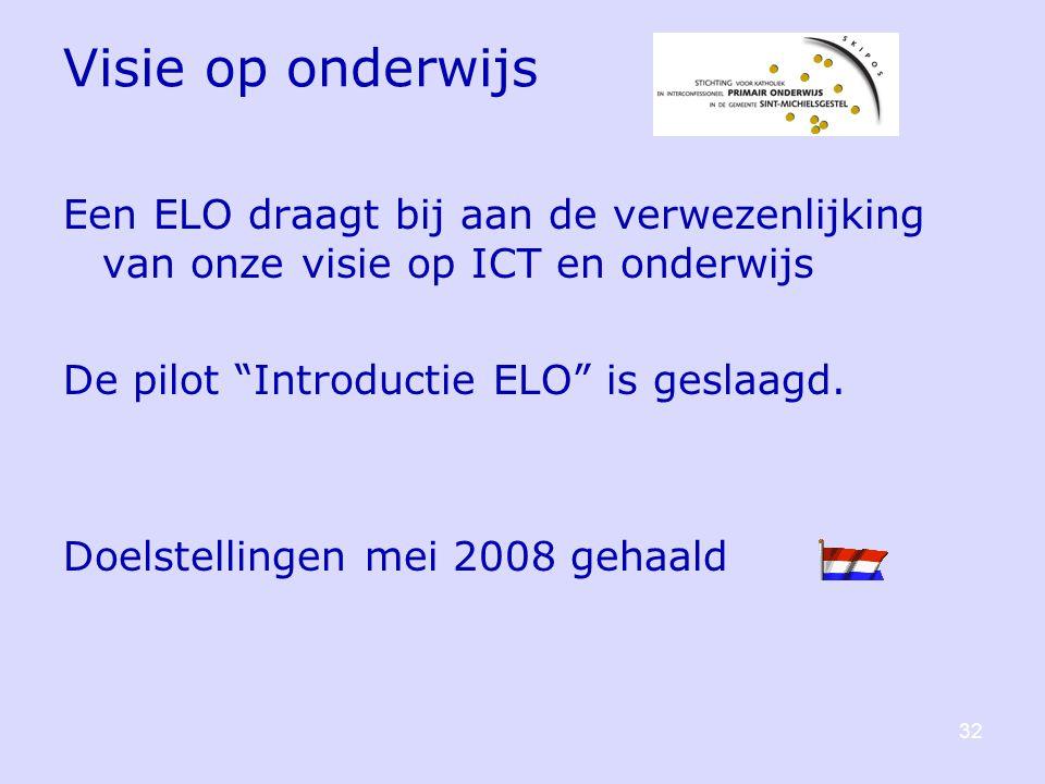 Visie op onderwijs Een ELO draagt bij aan de verwezenlijking van onze visie op ICT en onderwijs De pilot Introductie ELO is geslaagd.